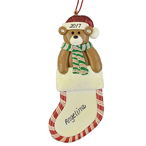 Boy Teddy Bear Ornament - Christmas Stocking with Bear Personalized Ornament - Calliope Designs - For Boy or Girl - 5