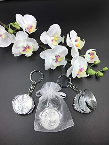 (12) Pcs New Baptism Compact Mirror Keychain Favor Bautizo Recuerdos/Holy Spirit Makeup Compact/First Communion With Organza Bags With Organza Bags]()