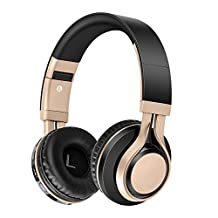 Pevor Wireless Bluetooth Over Ear Headset with Microphone Volume Control 3.5mm Corded Portable Foldable HIFI Stereo Noise Cancelling Deep Bass Headphones Earphones for Cellphones Computer (Black Gold)
