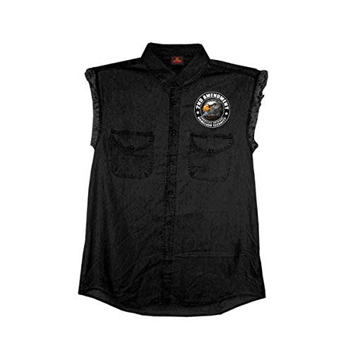 (Hot Leathers Men's New Down Flag Sleeveless Denim Shirt (Black,)