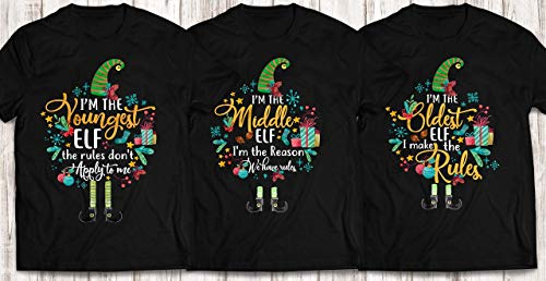 e Three Sibling ELF I'm The Youngest Middle Oldest ELF The Rules Do Not Apply To Me Customized Handmade T-shirt/Hoodie / Sweater/Long Sleeve/Tank Top/Premium T-shirt ()