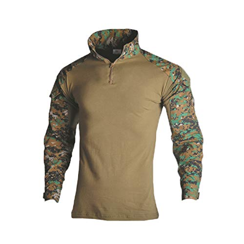(Military Ba Men's Military Tactical T-Shirt Combat Long Sleeve Slim Fit Camo Shirts-Jungle Digita-US S(Chest:34 tag S))