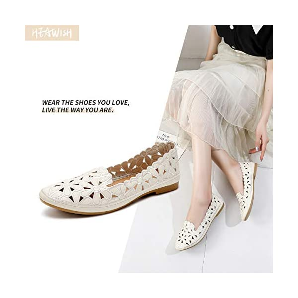 HEAWISH Women's Floral Ballet Flats for Women Black Beige Slip On Flowers PU Leather Round Toe Dress Shoes