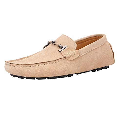 JIONS Mens Loafers & Slip-Ons Suede Driving Moccasins Flat Low Top Dress Shoes C- Yellow-44/10 M US ()