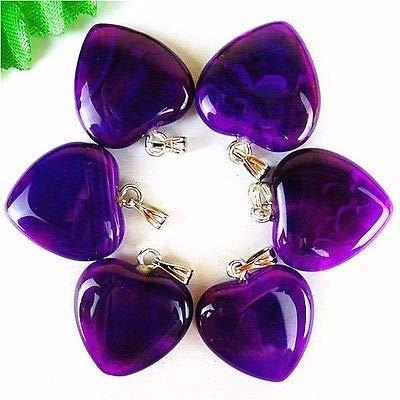 FidgetFidget 6Pcs Unique Purple Dragon Veins Agate Peach Heart Pendant Bead 23x20x7mm HH171