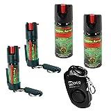 Pepper Shot Pepper Spray 1/2 OZ 10% OC W/Quick Release Key Chain and Pepper Shot 2 Oz 10% Pepper Spray Stream PLUS BONUS - Lot of 4 as Shown