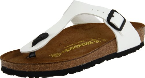 Birkenstock Women's GIzeh Thong Sandal, Bright White Patent, 39 M EU/8-8.5 B(M) (Gizeh White Leather)