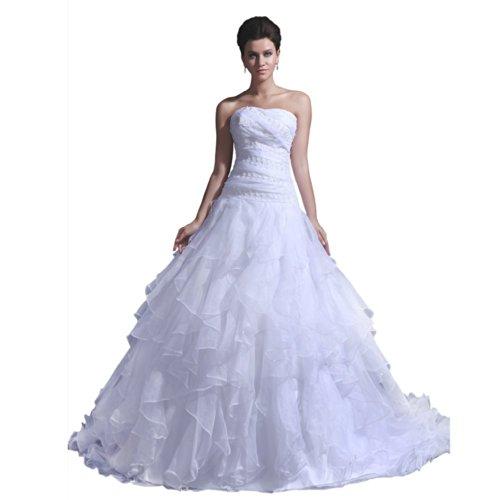 A Sweetheart Train Court Dearta White Line Dresses Wedding Sleeveless Women's Hqqw4Z5