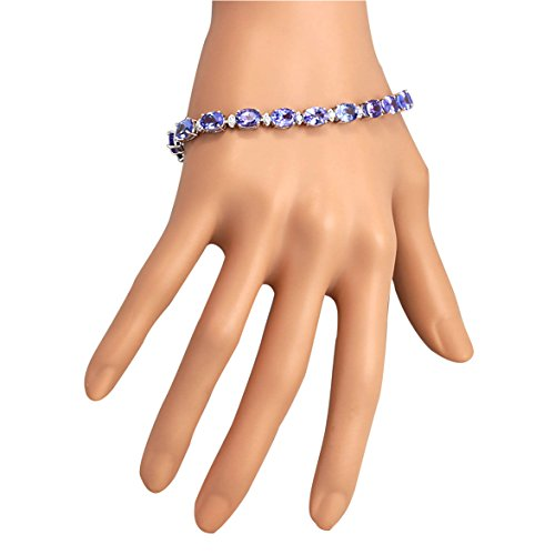 23.35 Carat Natural Tanzanite And Diamond Bracelet In 14K Solid White Gold