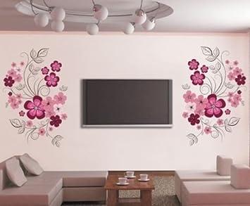HALLOBO® XXL Wandtattoo Blumen Blumenranke Wandaufkleber Wandsticker Wall  Sticker Wohnzimmer Schlafzimmer Deko