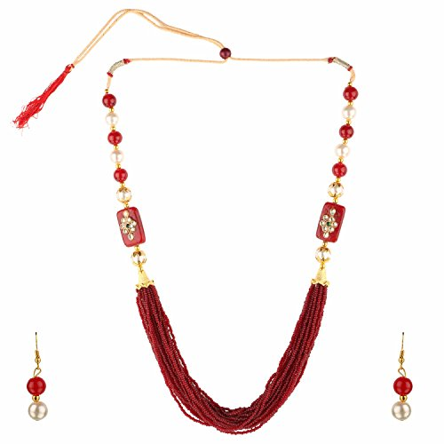 Efulgenz Indian Bollywood Kundan Handcrafted Maroon Multi Stranded Necklace and Dangler Earrings Costume Jewelry Sets for Women