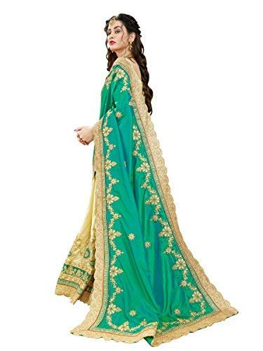 Manohari Women's Art Silk Embroidered Saree with Blouse Piece(MN345_Green_Free Size)