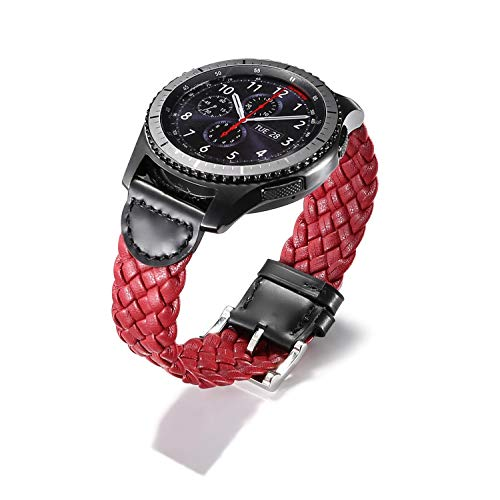 Elite Cotton Pebbles - Jewh Weave Genuine Leather Watch Band for Samsung Gear S3 - Frontier Strap Bracelet for Gear - S3 Classic Band with Quick Release Pins - Samsung Watch Band - Creative Design Strap (Red)