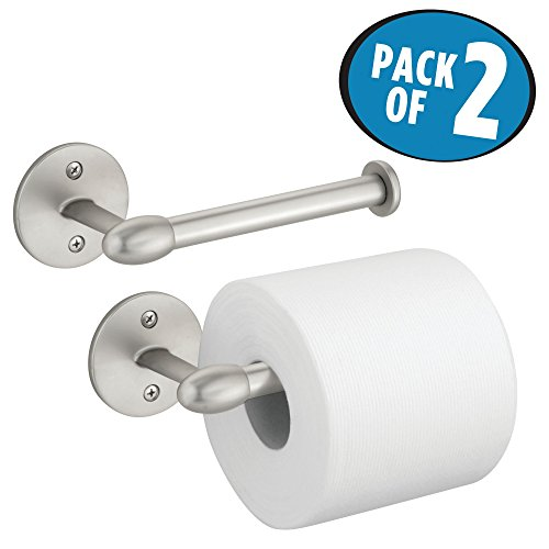 mDesign Wall Mount Toilet Tissue Paper Roll Holder and Dispenser for Bathroom Storage - Wall Mount, Holds and Dispenses One Roll, Mounting Hardware Included - Pack of 2, Strong, Durable Metal in Satin