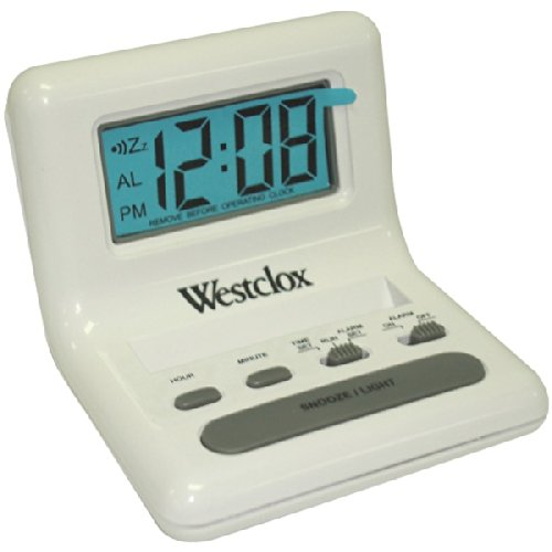 WESTCLOX 47539 .8'' White LCD Alarm Clock with Light on Demand