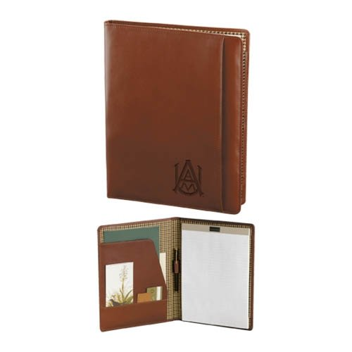 Alabama A&M Cutter & Buck Chestnut Leather Writing Pad 'Official Logo Engraved' by CollegeFanGear