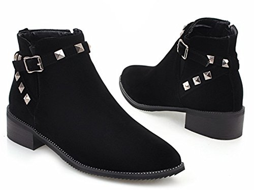 Aisun Womens Fashion Buckled Strap Studded Dressy Pointed Toe Short Boots Inside Zip Up Chunky Low Heel Ankle Booties Black DsP5f