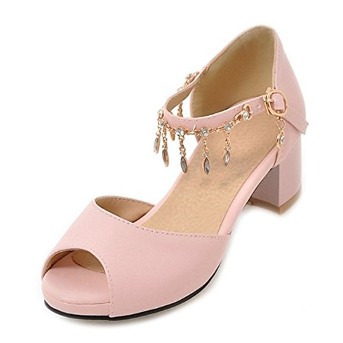 SJJH Sandals with Low Chunky Heel and Shiny Ankle Strap Women Dressy Shoes with Peep Toe and Large Size Pink