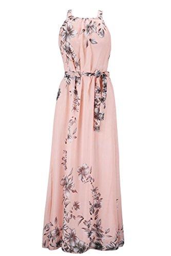 Delle Alla Allentato Vestito Nuca Donne Il Estate Nastro Fiore Yming Rosa Stampato Maxi P6vpxW