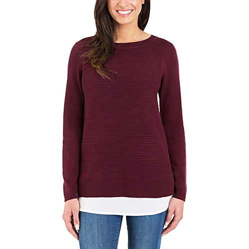Hilary Radley Ladies' 2fer Sweater (Heather Wine, L)