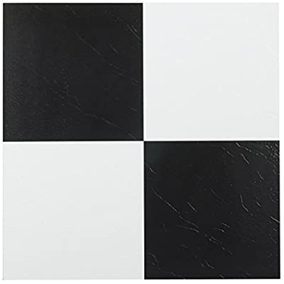 Achim Home Furnishings FTVSO10320 Nexus 12-Inch Vinyl Tile, Solid Black and White, Pack of 20 (Certified Refurbished)