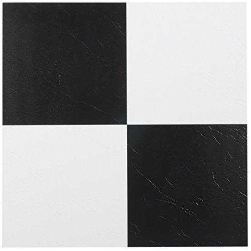 Achim Home Furnishings FTVSO10320 Nexus 12-Inch Vinyl Tile, Solid Black and White, Pack of 20 (Renewed)