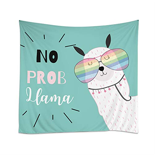 Moslion Llama Tapestry Cute Animal Alpaca with Rainbow Glasses Quote O Prob Llama Wall Hanging Tapestries One Side Decorative Home Art Polyester for Living Room 60x90 Inch