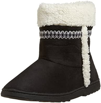 Isotoner Women's Microsuede Sherpa Trim Boot, Black, Small (6.5-7)