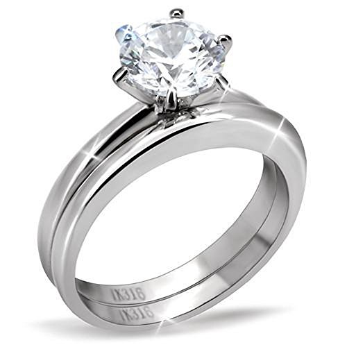 Vip Jewelry Co 1.50 Ct Round Cut AAA CZ Stainless Steel Wedding Ring Band Set Womens Size 5-10