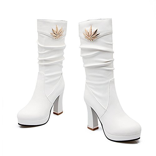 1TO9 Ladies Chunky Heels Platform Metal Ornament Short Plush Boots White UdKLm