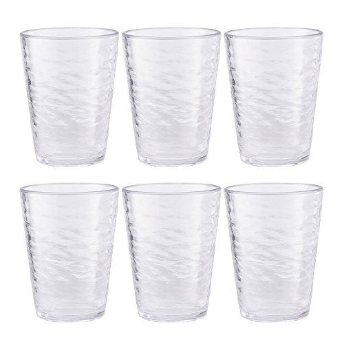 Premium Acrylic Drinking Glass, Set of 6, 16.6 oz, BPA-Free, Clear