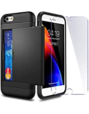 iPhone 6 / 6s Case with Card Holder and[ Screen Protector Tempered Glass x2Pack] SUPBEC i Phone 6 / 6s Wallet Case Cover with Shockproof Silicone TPU + Anti-Scratch Hard PC - Full Protective+Card Slot
