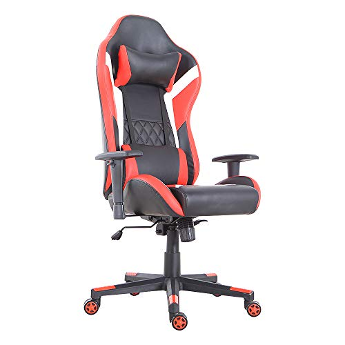 LCH Gaming Office Chair Ergonomic High-Back Desk Chairs Racing Style with Lumbar Support, Height Adjustable Seat, Headrest, Soft Foam Seat, Red
