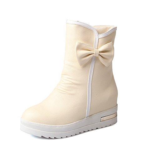 Damen Mittler Absatz Ziehen auf PU Rein Rund Zehe Stiefel, Weiß, 41 VogueZone009