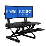 FlexiSpot Standing Desk - 41'' Cubicles Corner Desk Riser Fit dual monitor with Removable Keyboard Tray (M4B-Corner-Black)