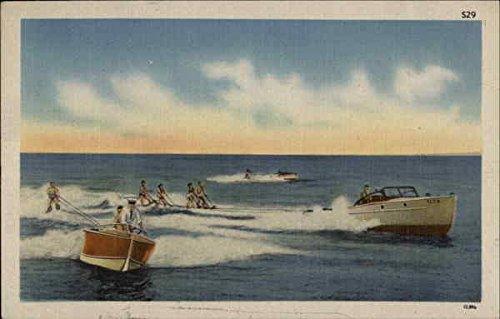 Waterskiing Surfing and Waterskiing Original Vintage Postcard