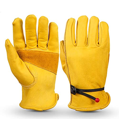 Leather Work Gloves, Labor Protection Cow Leather Gloves with Wrist, Wear-Resisting Puncture-Proof For Yard Work, Gardening, Farm, Warehouse, Construction, Motorcycle, Men & Women (XL,yellow)