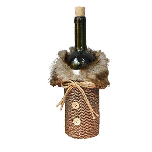 ❤️Yanvan❤️Christmas Decoration,New Year Gifts Christmas Wine Bottle Scottish Style Decoration Christmas Bottle Cap Xmas Decor (Coffee)