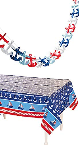 - happy deals Nautical Tablecloth and Tissue Anchor Garland Set - Nautical Party Decorations