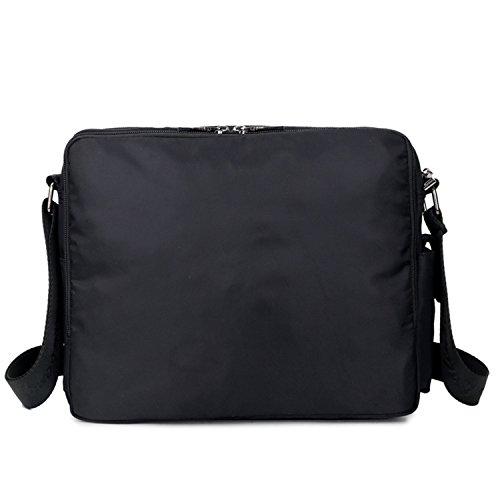 Mecooler Bolso Bandolera Vintage Messenger Bag Bolsos Mujer Bolsa Hombre Bolsos Originales Nylon Bolsas para Escolares Colegio Libro Tablet Negro