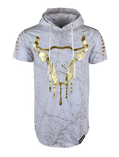 SCREENSHOT SCREENSHOTBRAND-732 Mens Hip Hop Longline Premium Tee - Pullover Hooded Fashion T-Shirt w/Side Zipper Bull Print - White - Small by SCREENSHOT