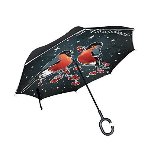 Yuihome Paraguas Reversible Plegable de Doble Capa invertido para Invierno, Navidad, cartulinas, pájaros, Resistente al...