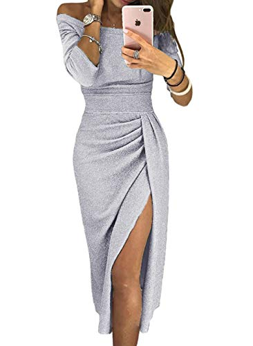 HUUSA Plus Size High Waist Wrap Slit Dress for Evening Party Prom Womens Shiny Off The Shoulder Gray Formal Gown Dress X-Large (US 16-18) Gray