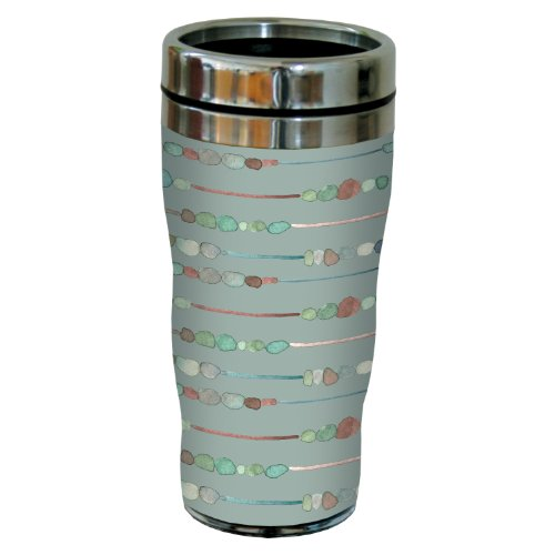 sg23615 Organic Earth Toned Stones on Sage by Shell Rummel Sip 'N Go Stainless Steel Lined Travel Tumbler, 16-Ounce (Paper Cold Cup Sage)