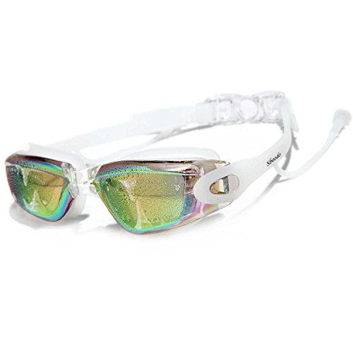 Sbeedo UV Protection Mirror Coated Lenses Swimming Goggles with Siamese Ear Plugs, White