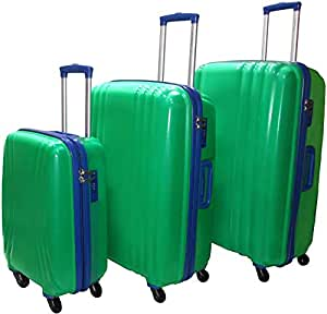 Highflyer Kelvin 3 Pc Hard Luggage Trolley Travel Bag - Green/Blue