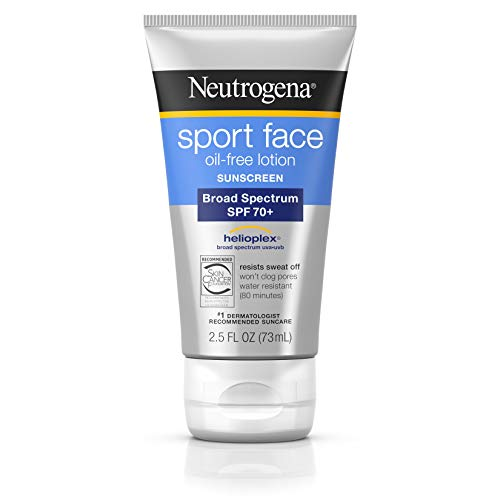 (Neutrogena Sport Face Oil-Free Lotion Sunscreen with Broad Spectrum SPF 70+, Sweatproof & Waterproof Active Sunscreen, 2.5 fl. oz)