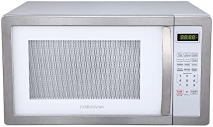 Farberware FMO11AHTPLB 1.1 Cu. Ft. 1000-Watt Microwave Oven with LED Lighting Cubic Feet, White/Platinum