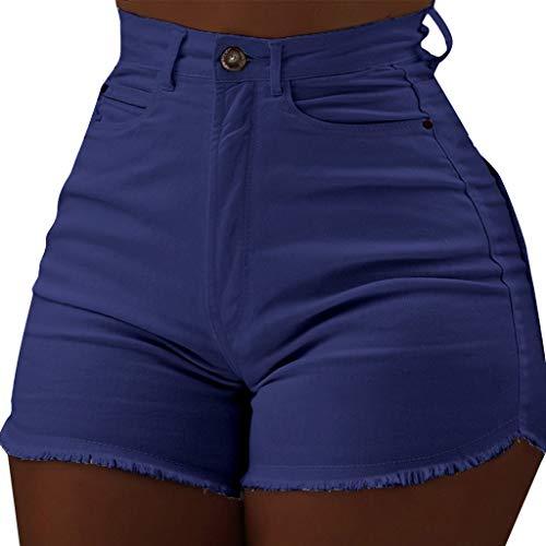 ❤️Women's Raw Denim Shorts, Gogoodgo Ladies Solid Tight Fitting High Waist Shorts Buttons Beach Leisure Pants Blue