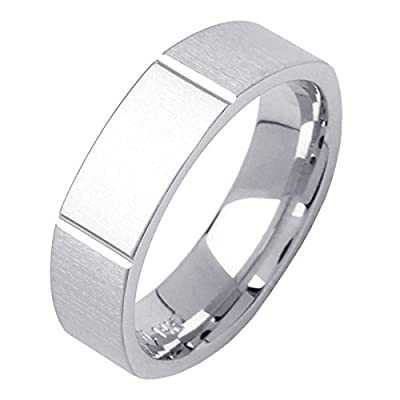 18K White Gold Modern Blocks Men's Hexagon Comfort Fit Wedding Band (6mm)